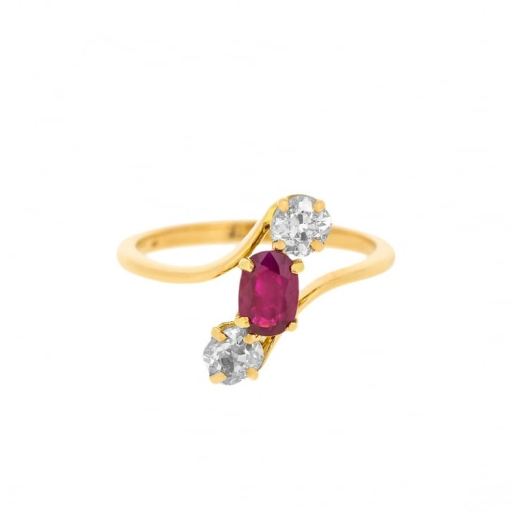 Ruby and Diamonds Oblique Trilogy Ring