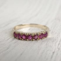 Ruby Seven Stone Ring in yellow Gold