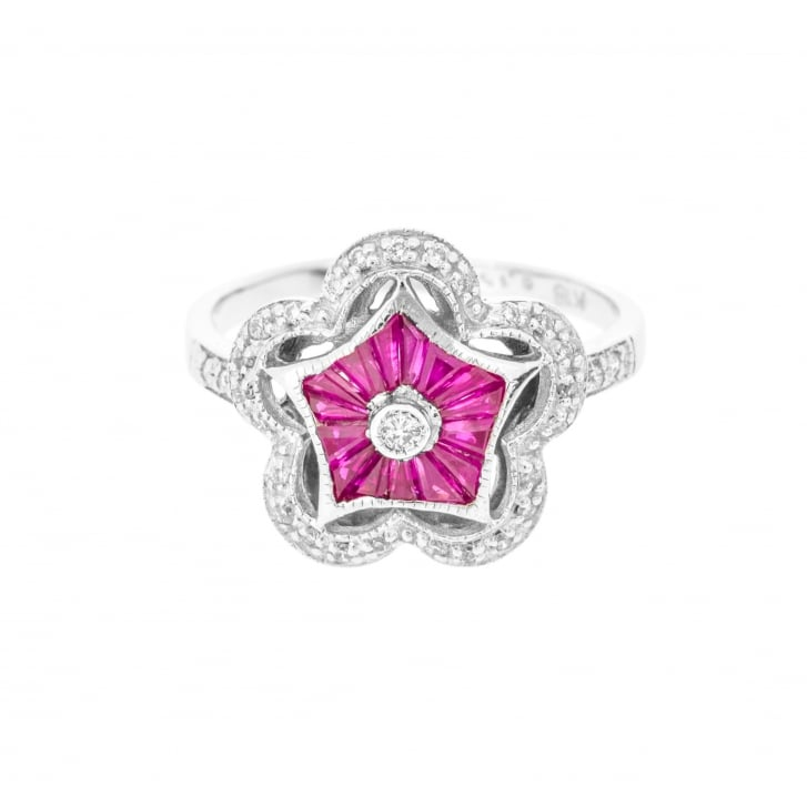 Ruby Star and Diamond Halo Ring