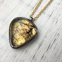 Gold Foil and Tourmalinated Quartz Necklace