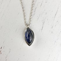 Marquise Rutilated Quartz and Lapis Lazuli Pigmento Necklace