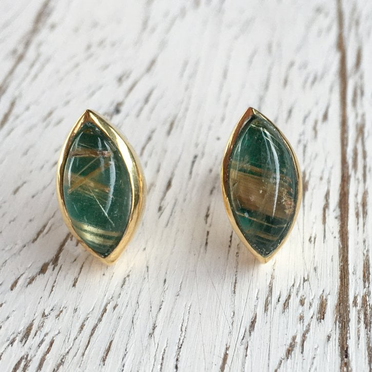 Rybarova Marquise Studs with rutilated Quartz and Malachite
