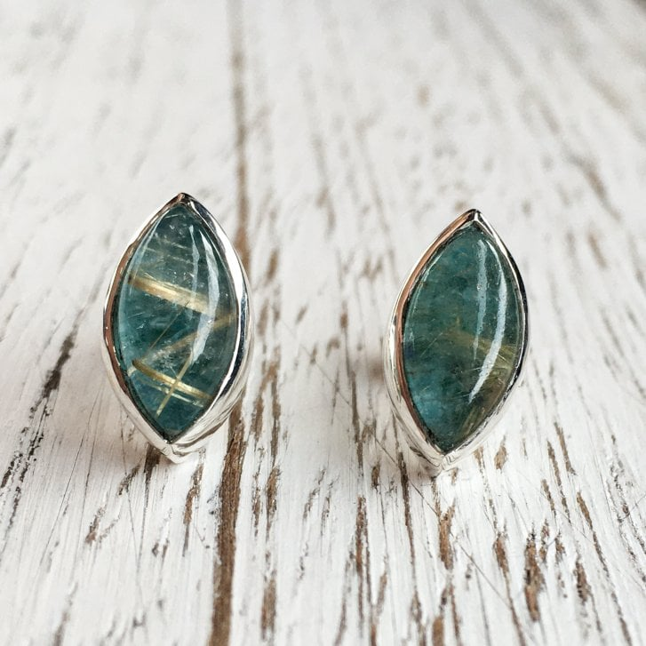 Rybarova Silver marquise Stud earrings with Rutilated Quartz & Turquoise