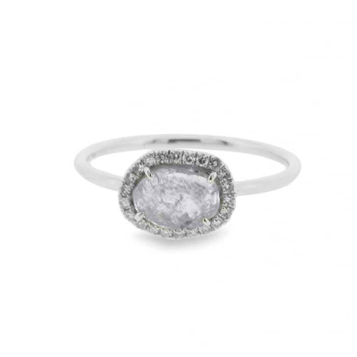 'Salt and Pepper' Diamond Slice with Diamond Halo Ring