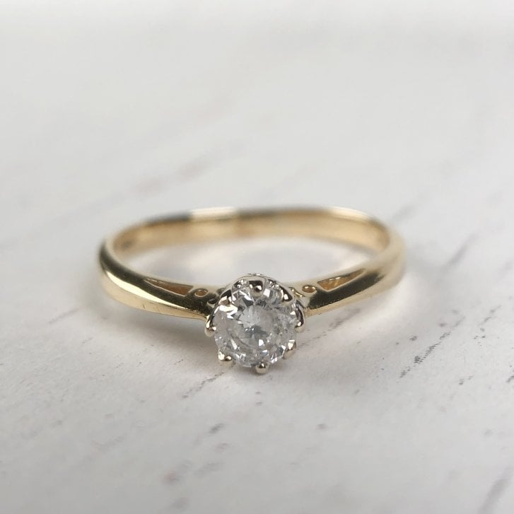 Salt and Pepper Diamond Solitaire Ring