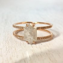 Salt & Pepper Hexagon Diamond Ring in Rose Gold
