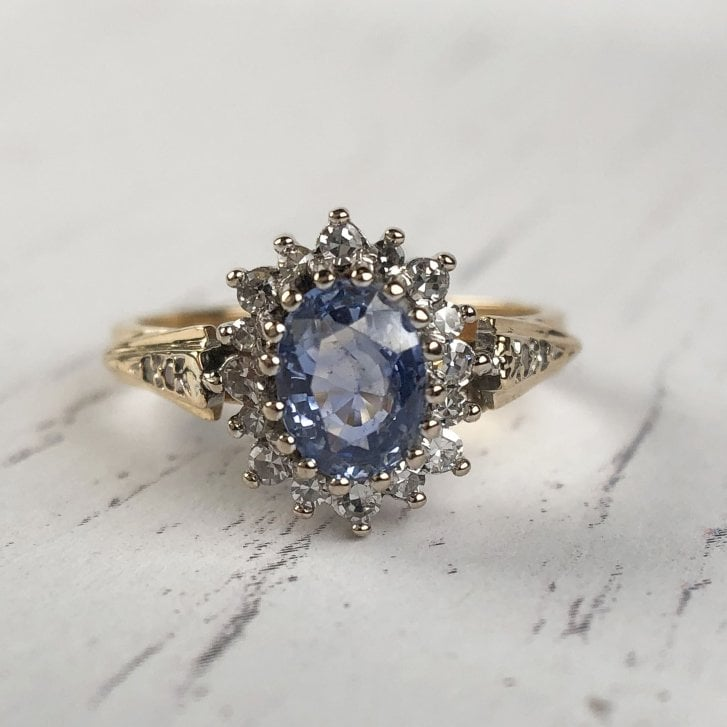 Sapphire and Diamond cluster ring mixed gold