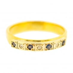 Sapphire and Diamond Half Bar Ring