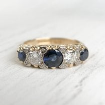 Sapphire and Diamond Half Hoop Ring