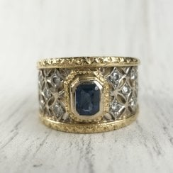 Sapphire and Diamond Star Mesh Ring