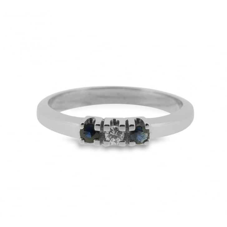 Sapphire and Diamond Triology Ring
