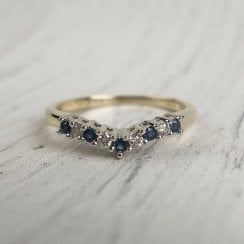 Sapphire and Diamond V-shaped Band