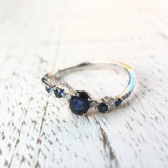 Sapphire and Diamond Wavy Band