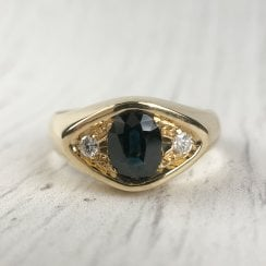 Sapphire and Diamond Yellow Gold Signet Ring