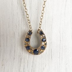 Sapphire and Diamonds Horseshoe Necklace