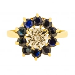Sapphire and Illusion Set High Cluster Ring