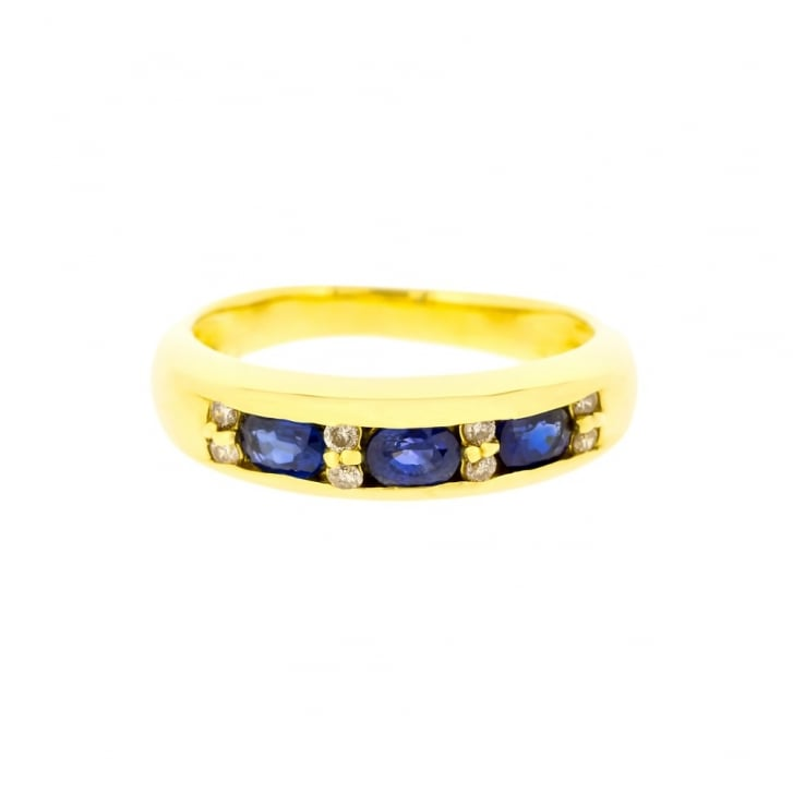 Sapphire Baguettes and Diamond Gold Band