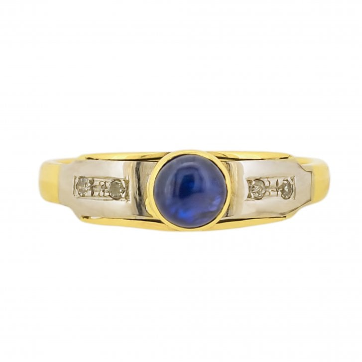 Sapphire Cabochon and Diamond stream set Ring