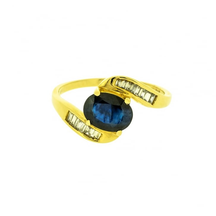Sapphire & Diamond Baguette Crossover Ring