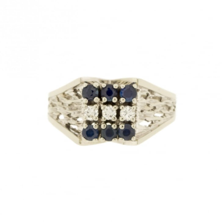 Sapphire & Diamond Textured Square Band