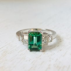 Seafoam Tourmaline and Diamond Ring