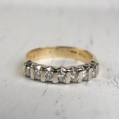 Seven Diamonds Ring in Two Tone Gold