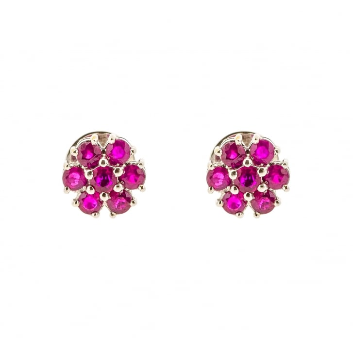 Seven Stone Synthetic Ruby Cluster Stud Earrings