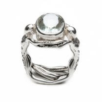 Silver Prasiolite Twin Ring