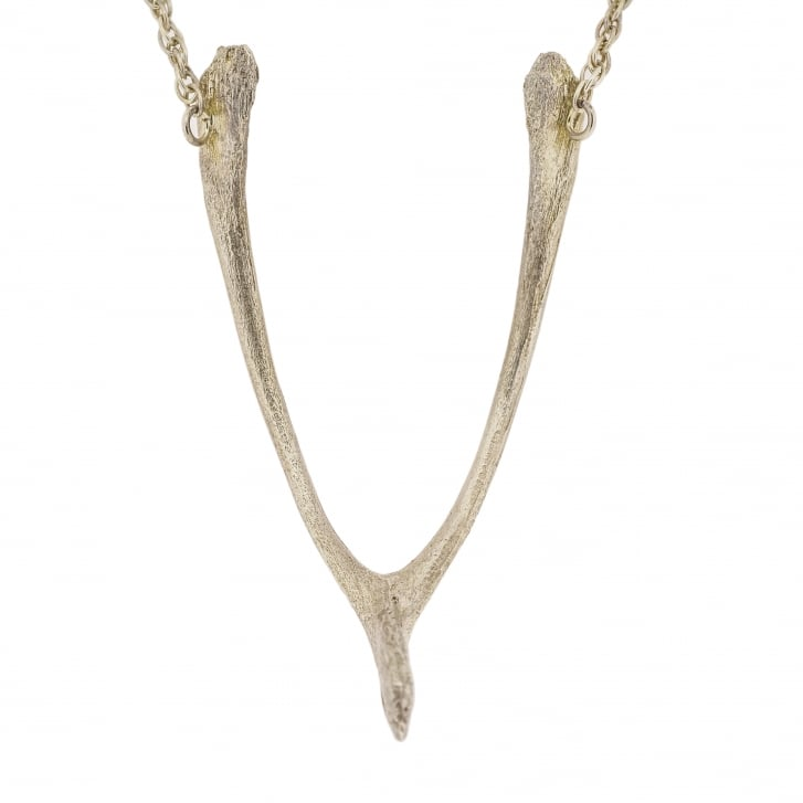 Issy White Silver Wishbone Necklace