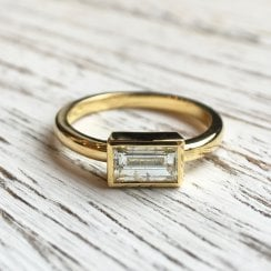 Single Baguette Diamond in Yellow Gold Bezel
