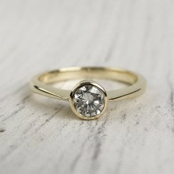 Single Diamond Ring in Yellow Gold Bezel