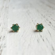 Small Emerald and Gold Stud Earrings