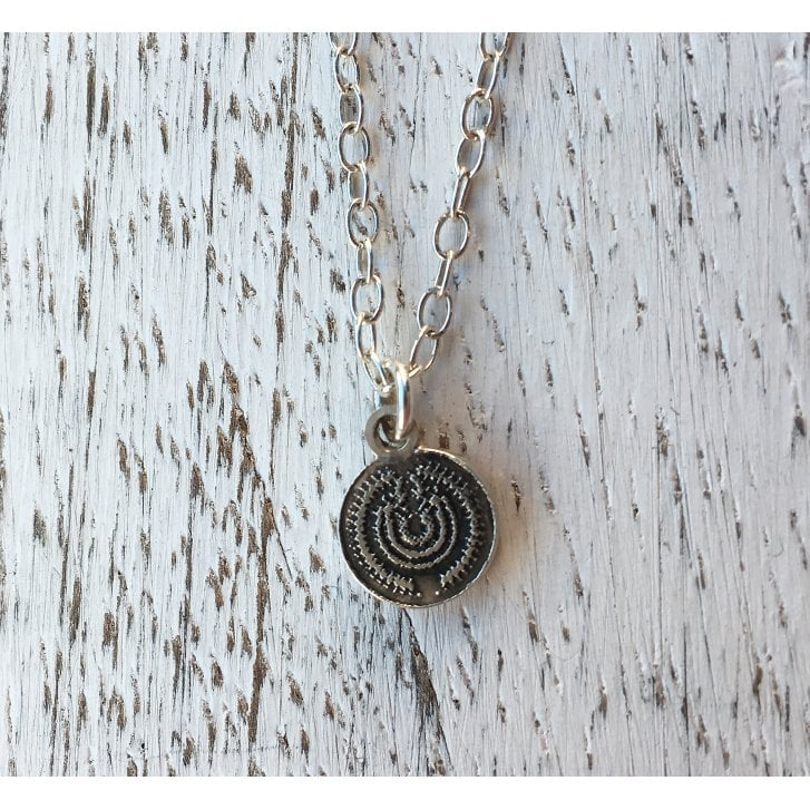 Becky Dockree Small etched silver Disc Necklace