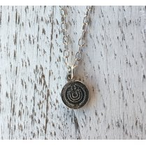 Small etched silver Disc Necklace