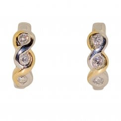 Small Two-tone Gold Diamond Hoops