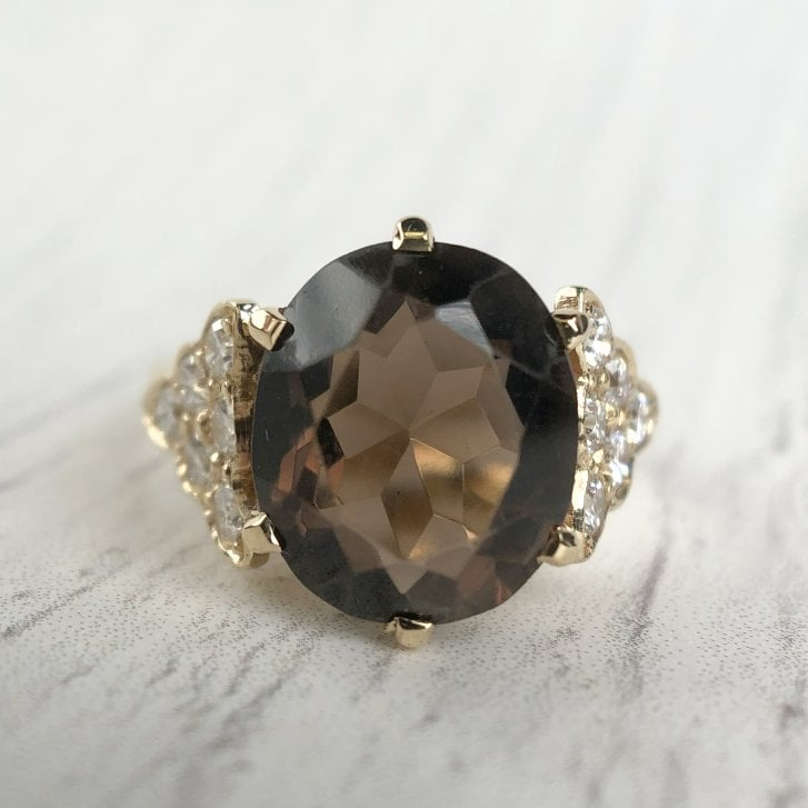 Smoky Quartz and Diamond Dress Ring