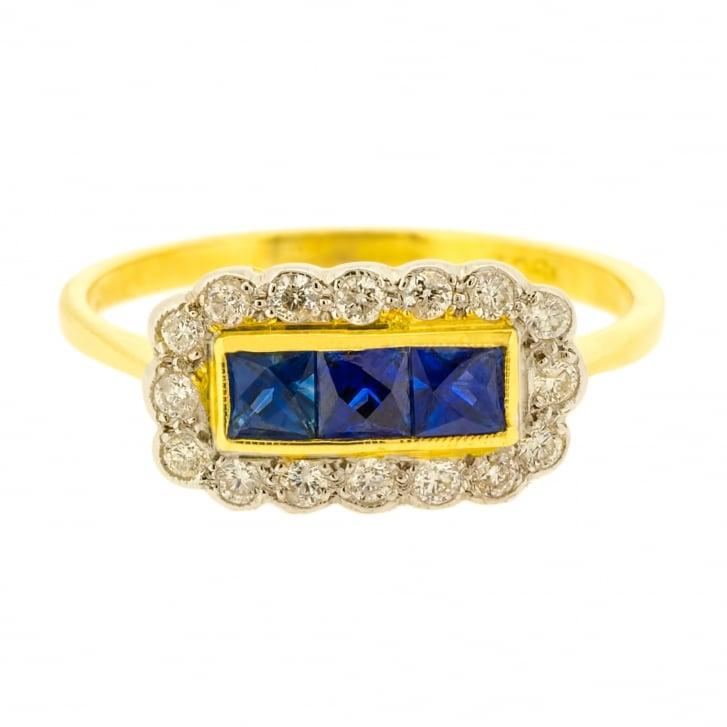 Special Cut Sapphire and Diamond Halo Ring