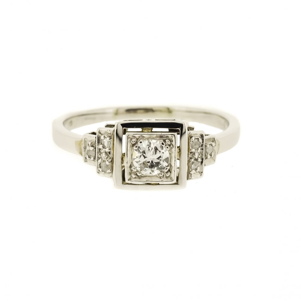 Square Deco Style Diamond Ring