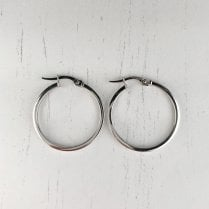 Square Profile Hoop Earrings in White Gold