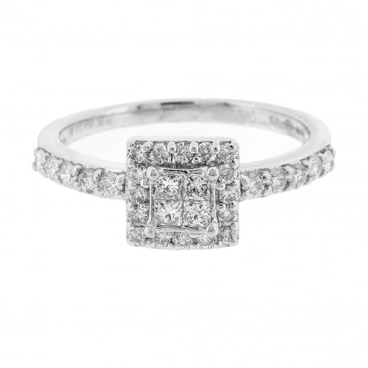 Square shape Diamond with Princess and Brilliant cuts Ring