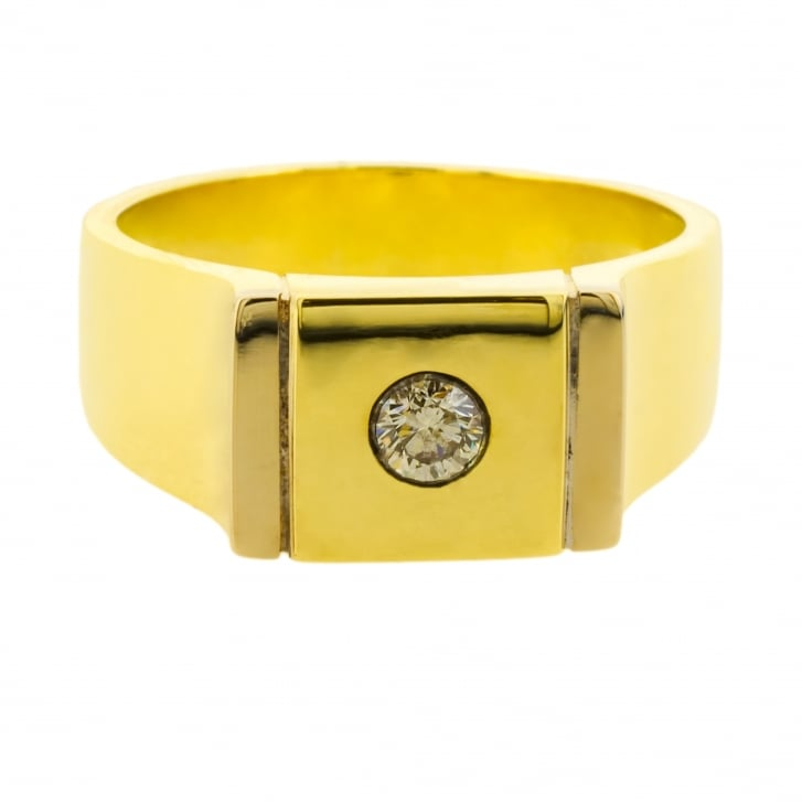 Square Signet Ring with a Diamond