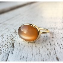Stars & Moons Ring with Oval Orange Moonstone Cabochon