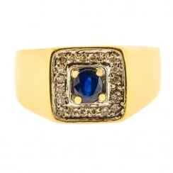 Statement Signet Ring Set With Sapphire and Diamonds
