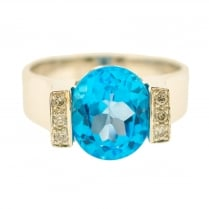 Statement Topaz and Diamonds Ring