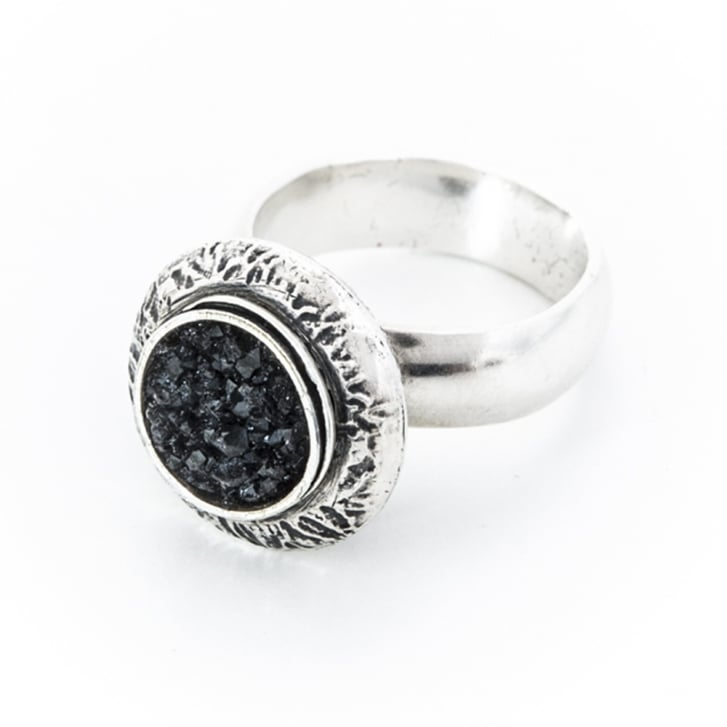 Sterling Silver Ring with Onyx Druzy