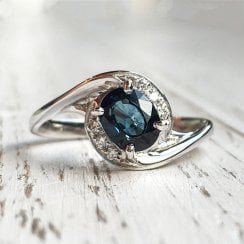 Swirl Sapphire and Diamonds Ring in White Gold