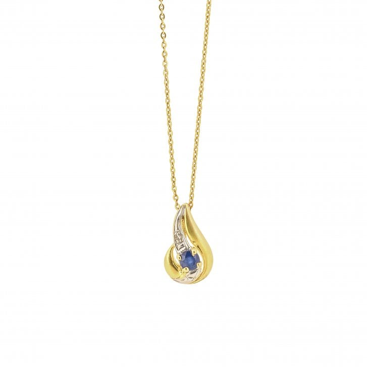 Syn Sapphire and Diamond Accent Wave Style Drop Pendant