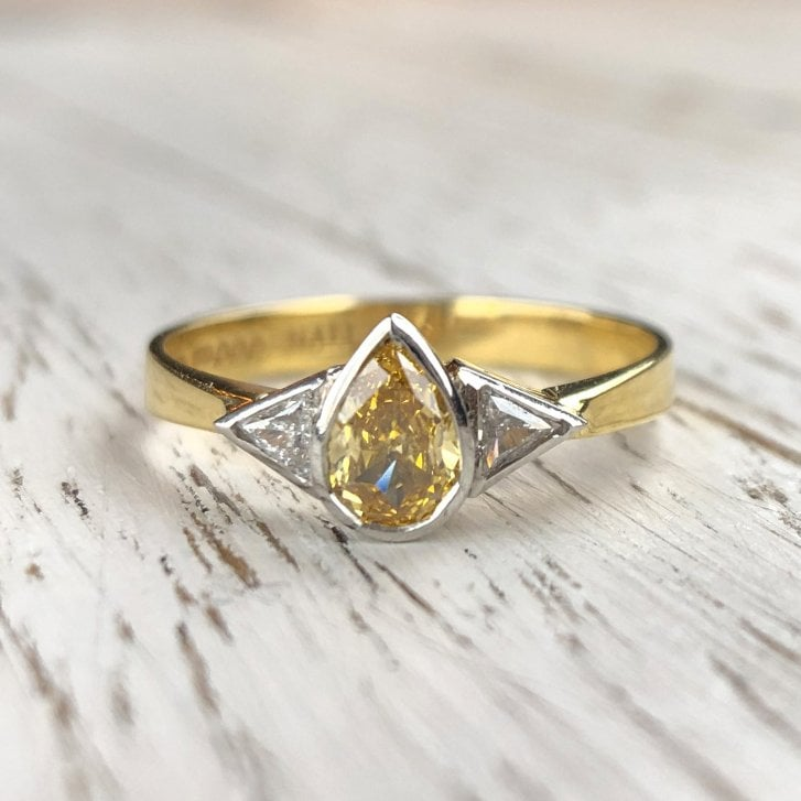Synthetic Pear Yellow Diamond Trilogy Ring