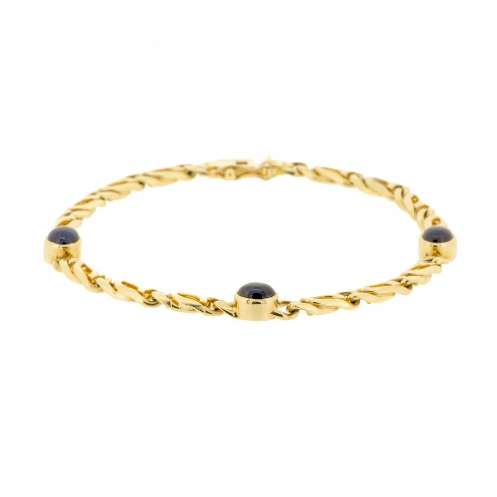 yellow jade cabochon gold bracelet in com tone at viomart