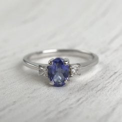 Tanzanite and Diamond Trilogy Ring